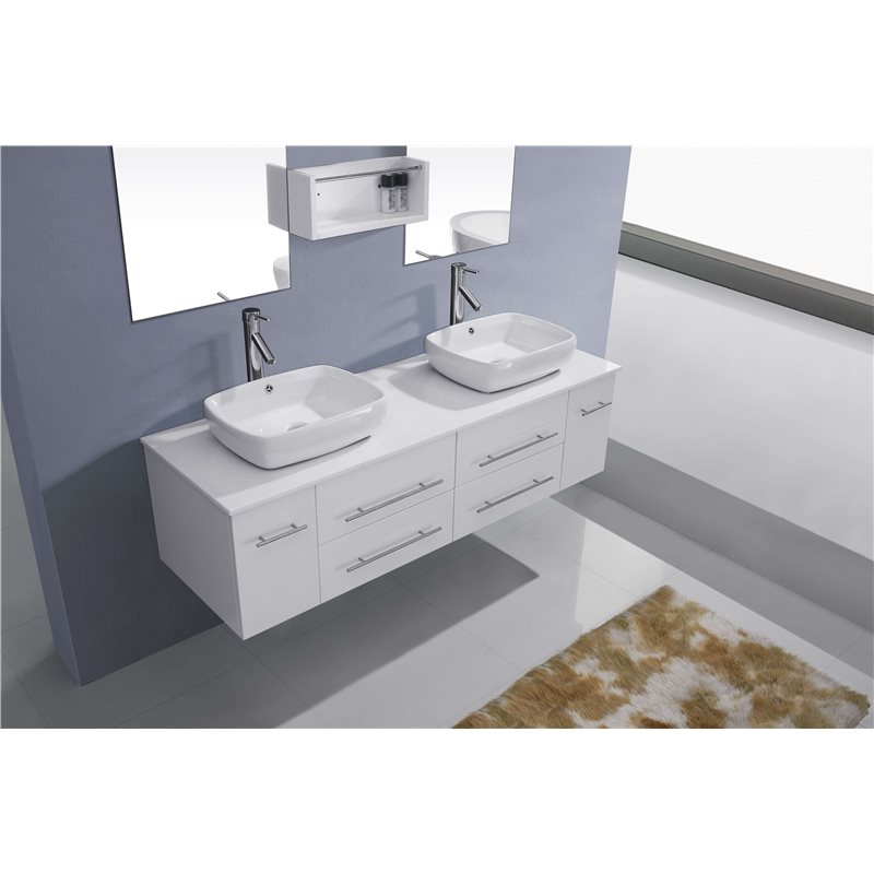 Augustine 59 Double Bathroom Vanity Cabinet Set In White