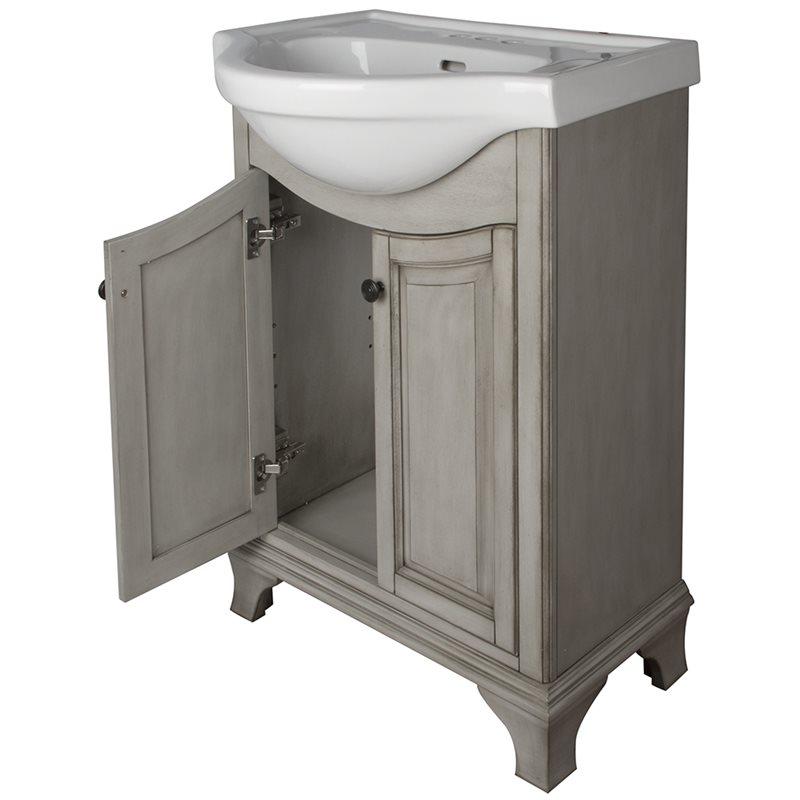 Corsicana 26 euro vanity combo antique grey finish - Euro bathroom vanity combo set ...