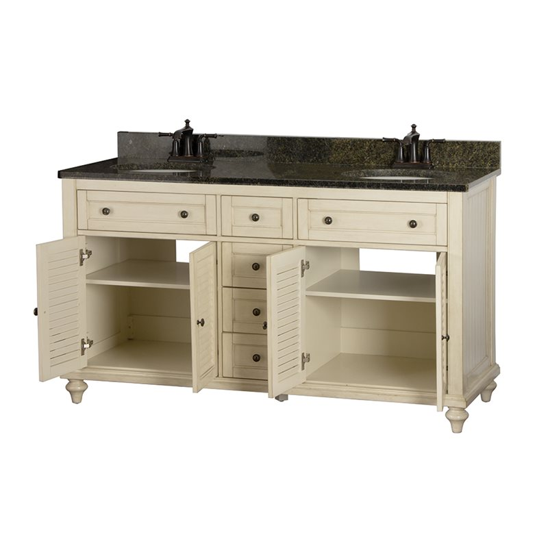 Fair child 60 inch bathroom vanity in antique white for Bathroom 60 inch vanity