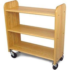 Library Book Truck Natural Birch - Flat Shelves