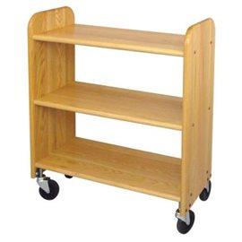 Library Book Truck Natural Oak Grain - Flat Shelves