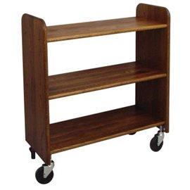 Library Book Truck Walnut Stain Birch - Flat Shelves