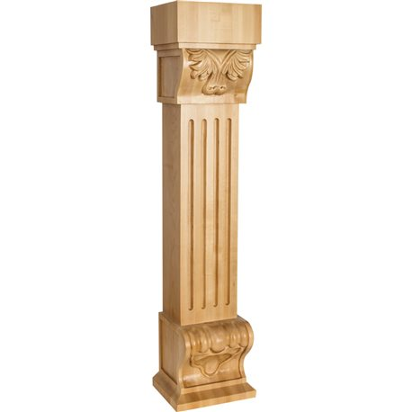 FCORE Acanthus Fluted Wood Fireplace Mantel Corbel with Shell Detail