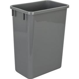 """35-Quart Plastic Waste Container Gray. 9-7/16"""" x 14-1/2"""" x"""