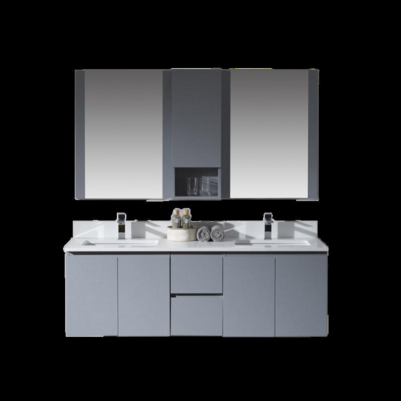 Monaco 60 Double Sink Wall Hung Vanity Set Metal Grey Wit