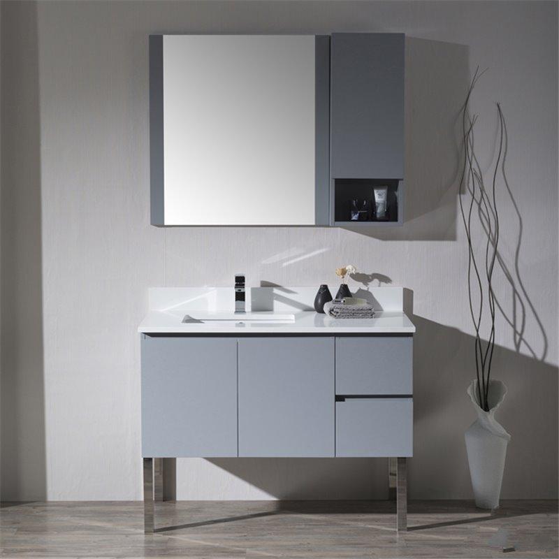 Monaco Left Basin Base Metal Gray Vanity With Chrome