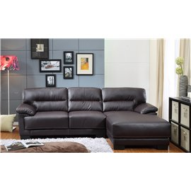Mason Bonded Leather 2-Pieces Sectional Sofa in Brown