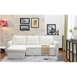 Georgetown Bi-Cast Leather 2-Pieces Sectional Sofa Bed with Storage in White