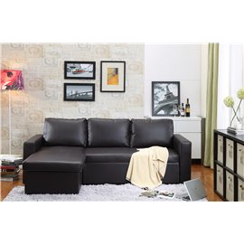 Georgetown Bi-Cast Leather 2-Pieces Sectional Sofa Bed with Storage in Brown
