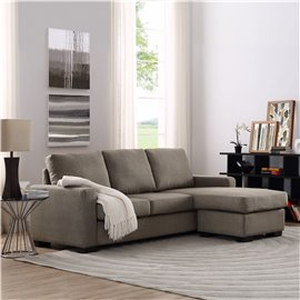 Colton Linen 2-Pieces Sectional Sofa in Tan
