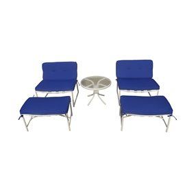 Della 5-piece Patio Conversation Set with Blue Cushion