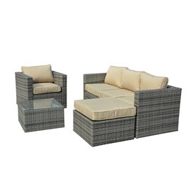 Caribe 4-Piece All Weather Grey Wicker Patio Seating Set with Beige Cushions