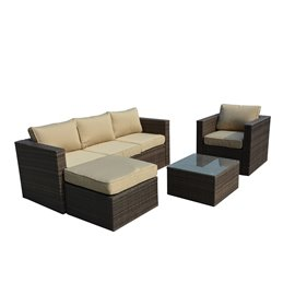 Caribe 4-Piece All Weather Dark Brown Wicker Patio Seating Set with Beige Cushions