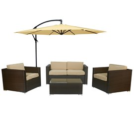 Cane Garden 5 Pieces Outdoor Wicker Conversation Set - Rustic Dark Brown