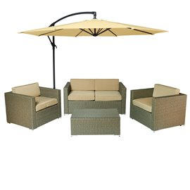 Cane Garden 5 Pieces Outdoor Wicker Conversation Set - Natural Rustic Light Brown