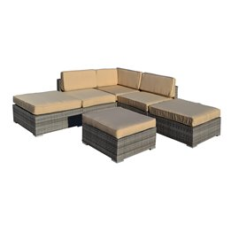 Barton 6-Piece All-Weather Grey Wicker Patio Sectional Sofa set With Beige Cushions