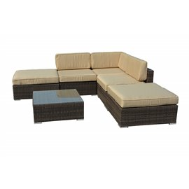 Barton 6-Piece All-Weather Dark Brown Wicker Patio Sectional Sofa set With Beige Cushions