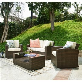 Bahia 4 Pieces Outdoor Wicker Coversation Set