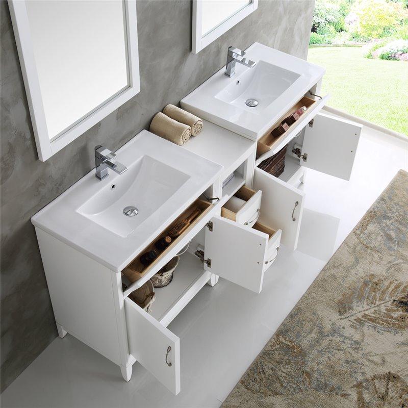 Fresca Cambridge 72 White Double Sink Traditional Bathroom Vanity W Mirrors