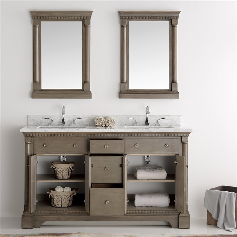 Fresca kingston 60 antique silver double sink traditional bathroom vanity w mirrors - Traditional bathroom vanities double sink ...