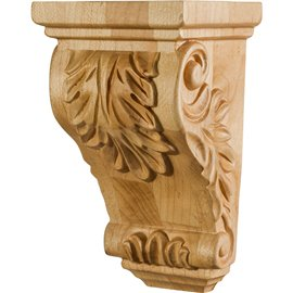 "3"" x 2-1/2"" x 5"" Small Acanthus Wood Corbel"