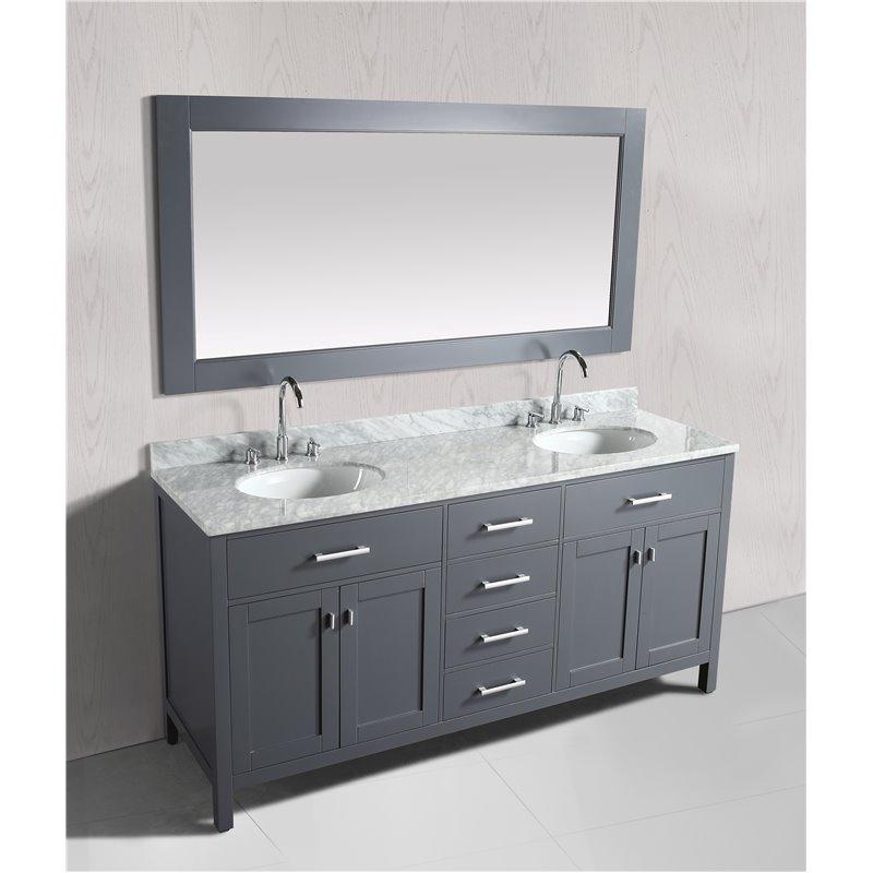 London 72 Double Sink Vanity Set In Gray Finish