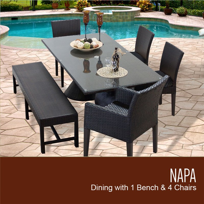 Napa Rectangular Outdoor Patio Dining Table With 2 Armless Chairs 2 Chairs W