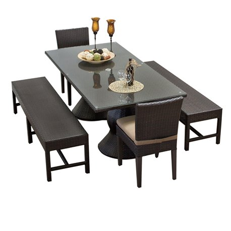 Napa Rectangular Outdoor Patio Dining Table With 2 Chairs And 2 Benches