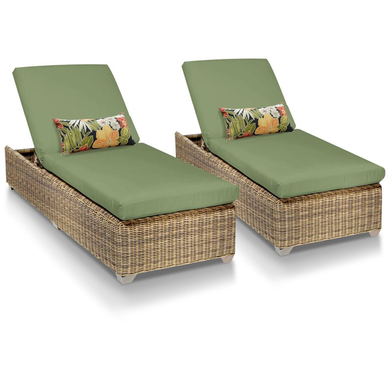 Cape cod chaise set of 2 outdoor wicker patio furniture for Chaise longue garden furniture
