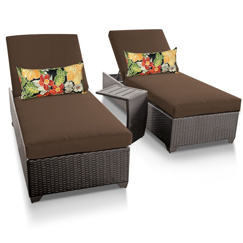 Classic chaise set of 2 outdoor wicker patio furniture with side table - Ensemble chaise table ...