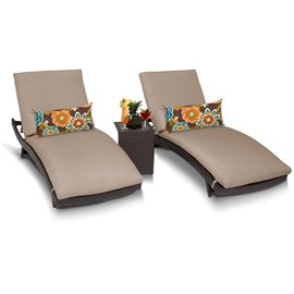 Bali Chaise Set of 2 Outdoor Wicker Patio Furniture With Side Table