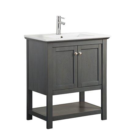 "Fresca Manchester Regal 30"" Gray Wood Veneer Traditional Bathroom Vanity"