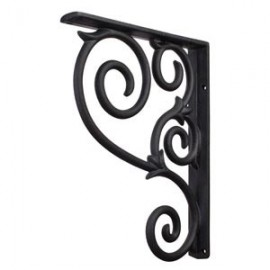 MCOR1-BLK Metal (Iron) Scrolled Bar Bracket. Finish: Black.