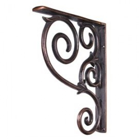 MCOR1-DBAC Metal (Iron) Scrolled Bar Bracket. Finish: Dark Brushed Antique Copper.