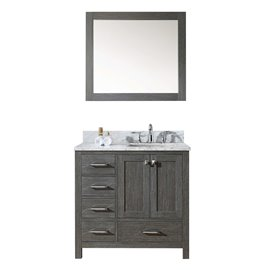 """Caroline Premium 36"""" Single Bathroom Vanity in Zebra Grey with Marble Top and Square Sink with Mirror"""