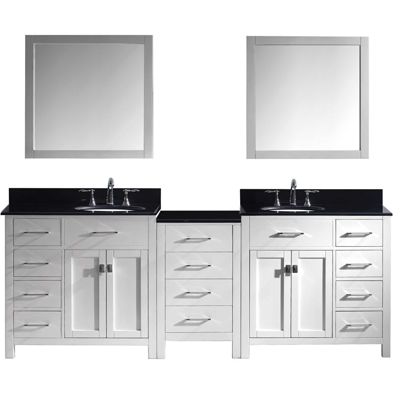 Caroline Parkway 93 Double Bathroom Vanity In White With Black Galaxy Granite Top And Round