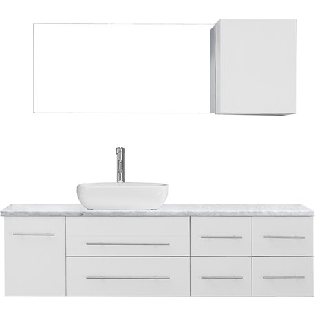 Justine 59 Single Bathroom Vanity In White With Marble Top And Square Sink With Polished Chrome