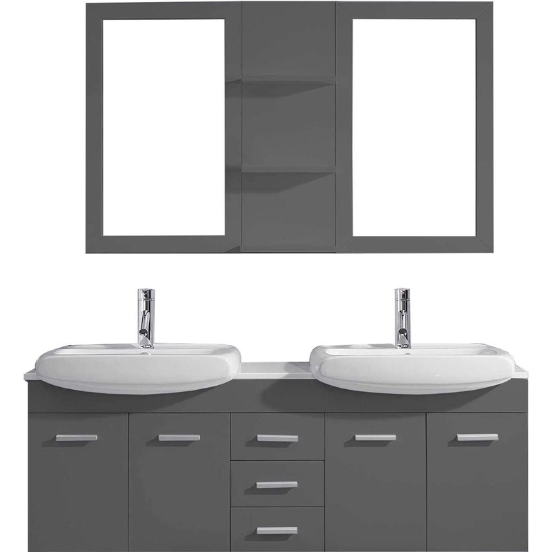 Ophelia 59 Double Bathroom Vanity In Grey With White Ceramic Top And Square Sink With Polished