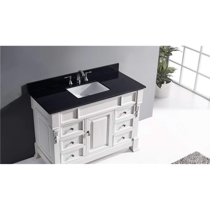 Huntshire Manor 48 Single Bathroom Vanity In White With Black Galaxy Granite Top And Square
