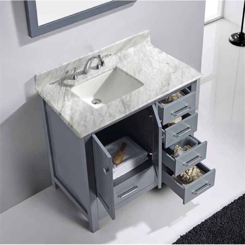 Caroline Avenue 36 Single Bathroom Vanity In Grey With Marble Top And Square Sink With Mirror