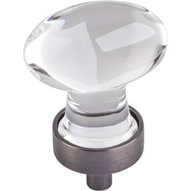 "1-1/4"" OL Glass Football Cabinet Knob. Packaged with one 8-3"