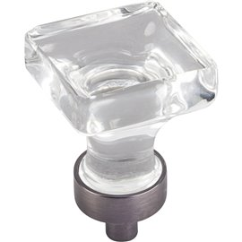 "1"" OL Glass Square Cabinet Knob. Packaged with one 8-32 x 1"""