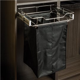 "Pullout Hamper. 18"" deep 23"" wide. Features a Polished Ch"