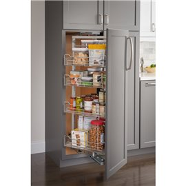 """12"""" Chrome wire pantry pullout with swingout feature with he"""
