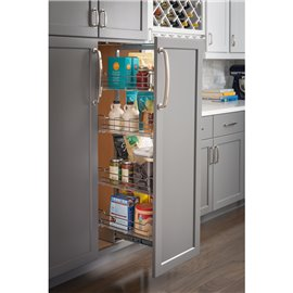"""15"""" Chrome wire pantry pullout with heavy-duty soft-close sl"""