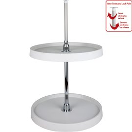 "18"" Diameter Round Plastic Lazy Susan Set with Chrome Hubs."