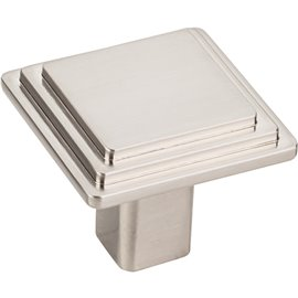"1-1/4"" Overall Length Stepped Square Cabinet Knob. Package"
