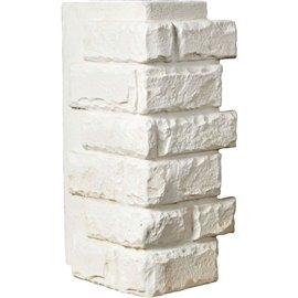 "12 1/2""W Board Side & 12""W Finger Side x 25""H x 1 1/2""D Cut Coarse Random Endurathane Faux Rock Outer Corner Siding Panel, Dove"