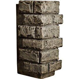 "12 1/2""W Board Side & 12""W Finger Side x 25""H x 1 1/2""D Cut Coarse Random Endurathane Faux Rock Outer Corner Siding Panel, Grey"