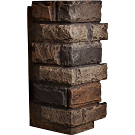 "12 1/2""W Board Side & 12""W Finger Side x 25""H x 1 1/2""D Cut Coarse Random Endurathane Faux Rock Outer Corner Siding Panel, Java"